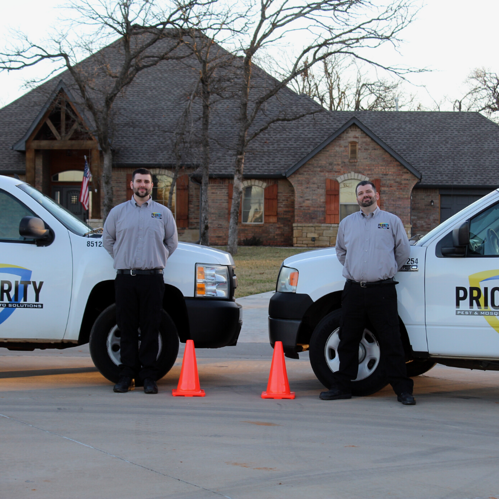 Chantz and Justin Standing in front of the Priority Pest trucks